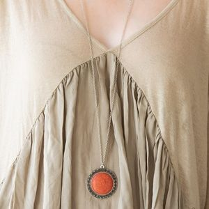 Silver Necklace W/ Orange Crackle Stone Pendant